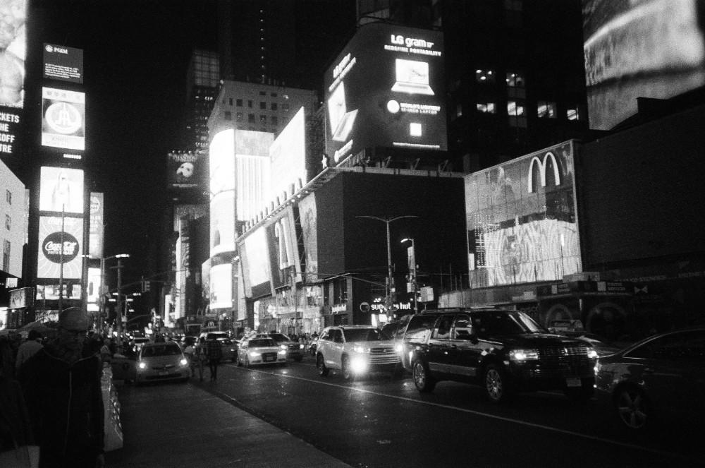 times square at night lomography berlin kino